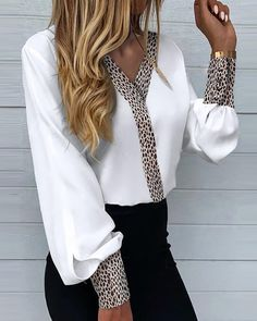 Trend Fashion, Look Fashion, Womens Fashion, Chic Type, Blouse Styles, Casual Tops, Style Casual, Pattern Fashion, Shirt Sleeves