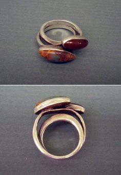 Ring | Art Smith. Sterling silver with carnelian and agate stone. Signed.