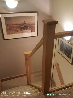 Oak staircase renovation incorporating toughened glass