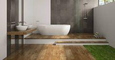 Een badkamer in hout, een beetje saai of oubollig? Niet bij badkamerspecialist Allibert. Met de nieuwe houtlooks 'eik vintage' en 'eik arlington',