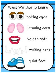 This freebie uses pictures of Mr. Potato Head to incorporate classroom rules. The visuals are appealing and help little learners remember circle time or classroom rules. Simply print on cardstock, laminate, and post in your room where it can be seen easily as a reference.