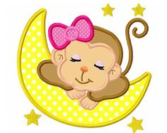 Sleeping baby monkey for girls digital applique -4x4 5x7 6x10-Machine Embroidery Applique Design