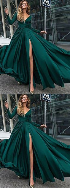 Dark Green A-Line V-Neck Long Sleeves Sweep Train Long Prom Dress, M250 #Prom #Green #Partydresses #Simidress