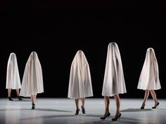 Fashion designer Hussein Chalayan's first dance production choreographs fabric as well as bodies. As a group of dancers spin, their swirling coats flip inside out to become sequined tunics, an onstage transformation scene. It's one of the best images in Gravity Fatigue: Chalayan has plenty of ideas, but they don't all find satisfying theatrical form.