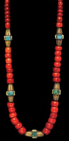 Saudi Arabia | Bedouin woman's necklace from the Najd; gold, coral and turquoise | ©The Splendour of Ethnic Jewelry: From the Colette and Jean-Pierre Ghysels Collection. Text: France Borel. Photographs: John Bigelow Taylor. Thames and Hudson, 1994. Page 115