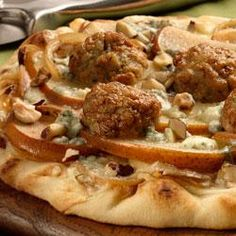 Caramelized Onion Meatballs Pizza with Apple and gorgonzola cheese