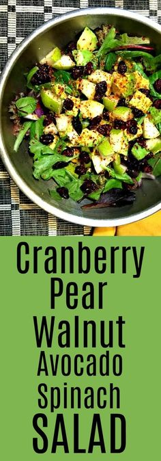 Sweet and Savory: Cranberry Pear Walnut Avocado Spinach Salad | Live a Green & Natural Healthy Lifestyle