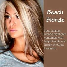 Beach blonde - face framing blonde highlights with beige and honey blonde lowlights