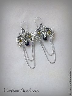 "Handmade earrings.  Fair Masters - handmade earrings wire wrap ""Iris.""  Handmade."