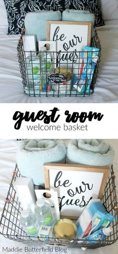 Guest Room Welcome Basket- perfect touch to welcome friends and family into your home. Overnight essentials and a free doorknob 'Do Not Disturb' printable.