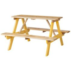 kid's yellow wood picnic table / @targetstyle