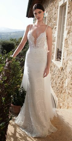 berta bridal 2015 lace sheath wedding dress sexy plunging deep v neckline embellished straps -- Top 100 Most Popular Wedding Dresses in 2015 Part 2 2015 Wedding Dresses, Bridal Dresses, Wedding Gowns, Wedding Blog, Lace Wedding, Wedding Suite, Wedding Venues, Wedding Simple, 2017 Wedding