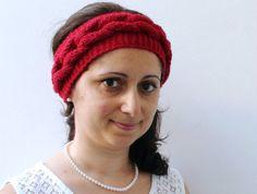 Red Knitted Headband  Ear Warmer Fashion Accessory от HelenKurtidu, €15.00