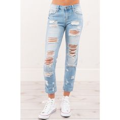 Street Thing Boyfriend Jeans (€34) ❤ liked on Polyvore featuring jeans, stretch boyfriend jeans, flap-pocket jeans, zipper pocket jeans, torn jeans and stretch jeans