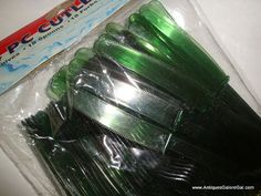 54 Piece Cutlery Set Green Plastic Picnic by AntiquesGaloreGal