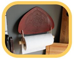 Paper Towel Holder – Kitchen Décor – Home Décor – Hand tooled Leather – Wood details – Handcrafted Kitchen Towels, Kitchen Decor, Paper Towel Holder Kitchen, Kitchen Fabric, Wood Detail, Leather Pieces, Whittling, Leather Tooling, Hand Tools