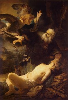"REMBRANDT ""Sacrifice of Isaac"" 1635, Oil on canvas, 193 cm x 132 cm, The Hermitage, St. Petersburg"