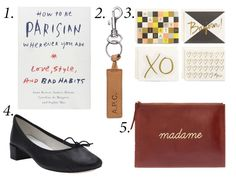 """1. """"How to Be a Parisian Wherever You Are,"""" $15.43, available at Amazon. 2. A.P.C. 'Cuoio' keychain, $55, available at A.P.C."""