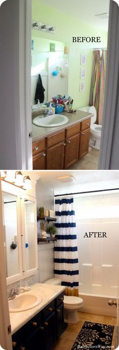 A good example of hanging the shower curtain higher to give the illusion of more space and higher ceiling