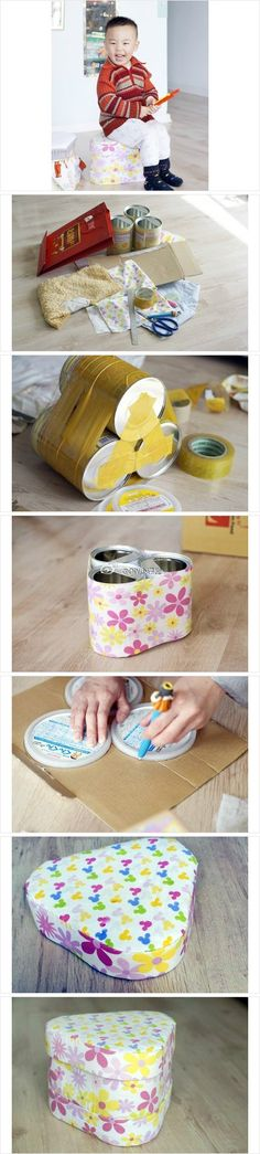 Re-purposed coffee can. Brilliant DIY storage box. Could be square made with 4 cans.