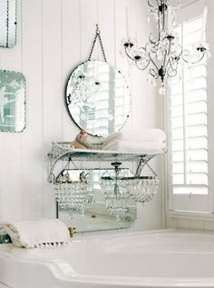 Shabby Chic Chandaliers for Shabby Chic Bathroom Decor.