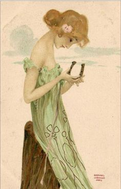 """Raphael Kirchner, from the """"Girls with Good Luck Charms"""" series"""