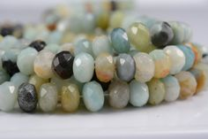 amazonite bead6x10mm faceted rondellemixed by SelectBeads on Etsy