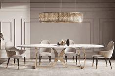 Italian Designer Contemporary Marble 6 Seat Dining Set at Juliettes Interiors. Luxury Dining Tables, Luxury Dining Room, Dining Table Design, Dining Chairs, Modern Dining Table, Dining Area, Dining Rooms, Italian Furniture, Luxury Furniture