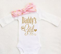 Fathers Day Onesie Daddys Girl Onesie by TrendyBabyClothesnco