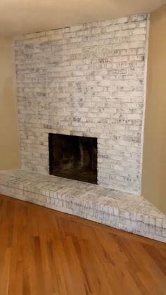 Update Brick Fireplace, Brick Fireplace Remodel, White Wash Brick Fireplace, Brick Fireplace Wall, Painted Brick Fireplaces, Home Fireplace, Fireplace Ideas, Fireplace With Stone, Painting A Fireplace