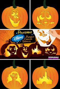 Add a touch of Disney to your Halloween decor with these printable pumpkin carving stencils! Add a touch of Disney to your Halloween decor with these printable pumpkin carving stencils! Scary Pumpkin Carving Patterns, Awesome Pumpkin Carvings, Cute Pumpkin Carving, Halloween Pumpkin Carving Stencils, Disney Pumpkin Carving, Scary Halloween Pumpkins, Halloween Crafts, Carving Pumpkins, Vintage Halloween