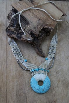 TURQUOISE and white macrame necklace tribal by ChitoyaCrafts