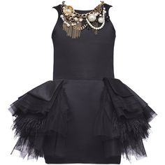 Mischka Aoki Girls Black Viscose Tulle Dress