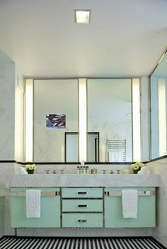 Mint With Stripes Art Deco Bathroom, Modern Bathroom Design, Bathroom  Interior, Bathroom Ideas