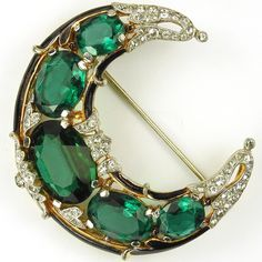 Trifari 'Alfred Philippe' Pave Black Enamel and Emeralds Crescent Moon Pin