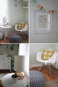A Light and Dreamy Gender-Neutral Nursery Love the color, storage, and wall decor Click on the link! www.ontobaby.com