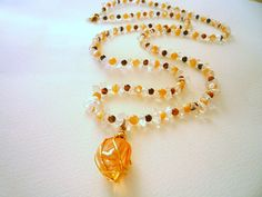 Long gemstone necklace, Tiger eye mother of pearls crystal quartz gemstone necklace, Wire wrapped Imperial Gold Aura Quartz pendant,Unique. Glass Necklace, Gemstone Necklace, Beaded Necklace, Beaded Bracelets, Amber Jewelry, Etsy Jewelry, Jewelry Shop, Orange Crystals, Mother Pearl