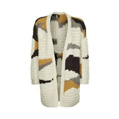 TopShop Hand Knitted Patchwork Cardigan (5 455 UAH) ❤ liked on Polyvore featuring tops, cardigans, ivory, oversized tops, oversized open front cardigan, hand knit cardigan, topshop tops and double layer top