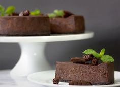 Nordstrom recipe for triple chocolate cheesecake with Maker's dark chocolate and mint; photo by Jeff Powell.