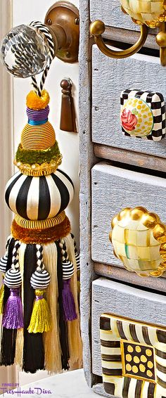 Fall Into Wonderland: MacKenzie- Childs Pin — Très Haute Diva Funky Furniture, Painted Furniture, Furniture Knobs, Mackenzie Childs Inspired, Mckenzie And Childs, Passementerie, Painted Chairs, Bohemian Decor, Tassels