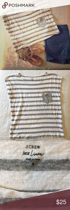 J. Crew linen tee 100% linen, excellent used condition--only worn twice, lightweight and perfect for spring and summer!  Accepting reasonable offers! Make an offer! 👍🏼 J. Crew Tops Tees - Short Sleeve