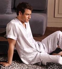 Midnight mens silk pajamas s1326 white