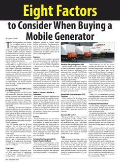 Eight Factors to Consider When Buying a Mobile Generator #heavyequipment #construction