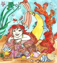 Original Painting - Mermaid Marina - Watercolor Illustration - Nursery Art - Art for Kids - Mermaid Fantasy - Fun and Whimsical