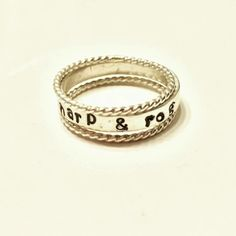 Custom stacking rings in sterling silver.  Available at www.etsy.com/bluegrassnbourbon