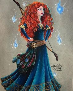 Princess Merida drawing from Brave in coloured pencils