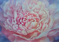 """""""Pink Peony"""" by Cathie Peters. #art #painting #artwork #floral #flower #floralart #flowers #flowerpainting #flowerart #stilllife #beautiful #watercolour #watercolor #watercolorpainting #wantercolourart #peony #pinkflower"""