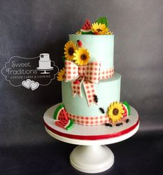 Sunflowers red gingham watermelon slices and of co Bolo Picnic, Picnic Cake, Picnic Theme, Picnic Baby Showers, 2nd Baby Showers, Bridal Showers, Girl Birthday Themes, Themed Birthday Cakes, Baby Q Shower
