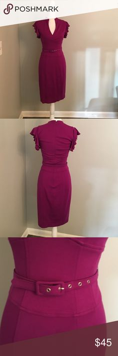 Sexy Plunge Neck Dress With Flutter Sleeves Super comfortable and hot! Gorgeous magenta color. Flutter sleeves. Hidden zip up the back. Comes with matching belt. Worn a few times and in excellent condition.                                        No stains or tears                                            95% Rayon.                                                               5% Spandex Cache Dresses