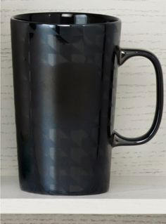 Ceramic coffee mug with a black-on-black houndstooth design. #Starbucks #DotCollection